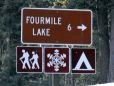 Sign to Fourmile Lake and Mt. McLoughlin