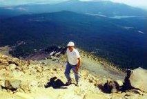 Dan hiking to the top of Mt. McLoughlin