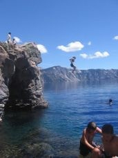 Laura taking the plunge into Crater Lake