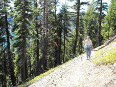 Judy hiking on Wizard Island