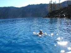 Dan swimming in Crater Lake