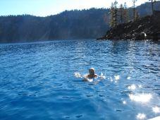 Dan swimming in Crater Lake